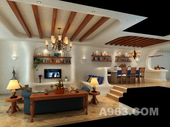 木条天花,弧形的背景墙,休闲的软饰   复古式的墙砖及地砖,让高清图片